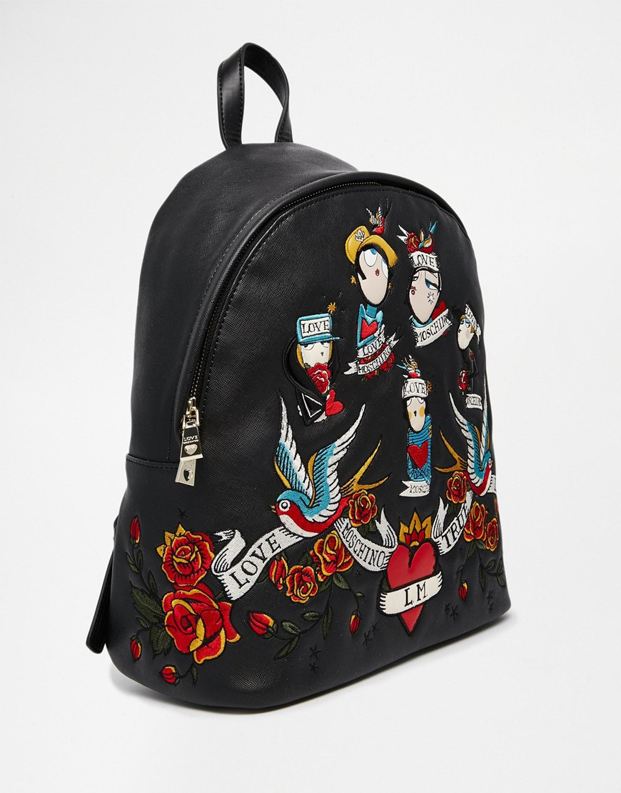 love moschino backpack with tattoo motif in black lyst. Black Bedroom Furniture Sets. Home Design Ideas