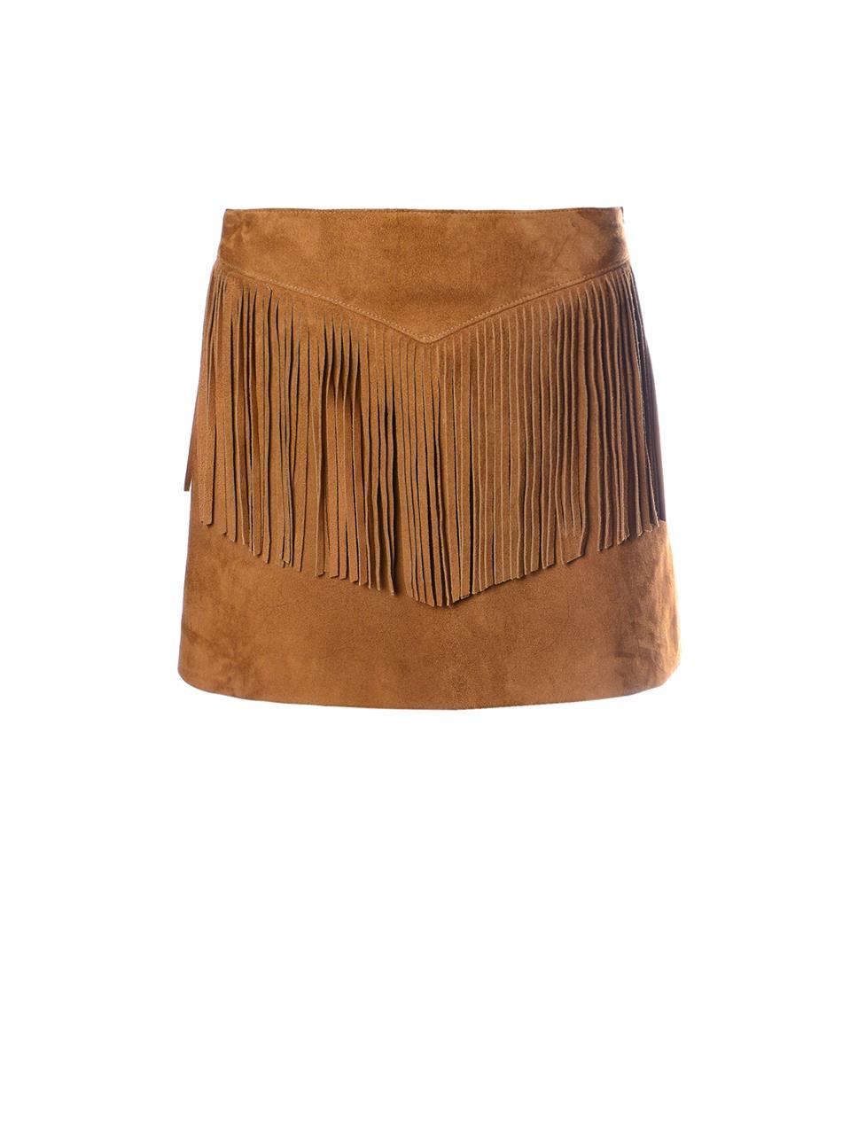 Saint Laurent Fringed Suede Mini Skirt In Brown Lyst