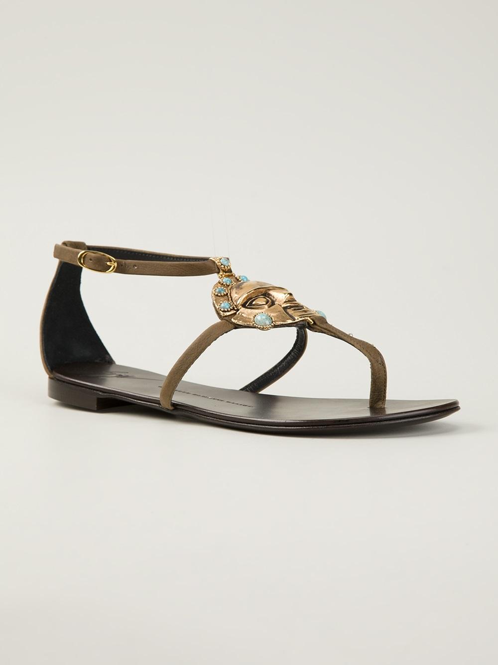 e93ec9a532f77f Lyst - Giuseppe Zanotti  aztec  Flat Sandals in Brown