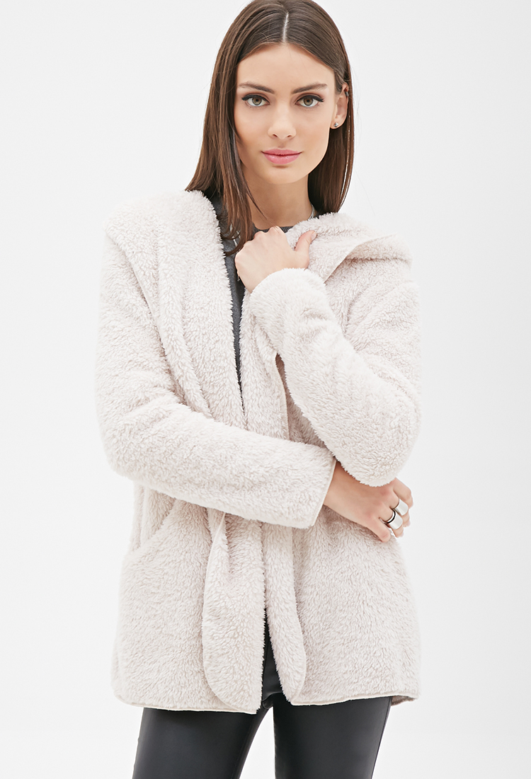 Forever 21 Hooded Faux Shearling Coat in Natural | Lyst