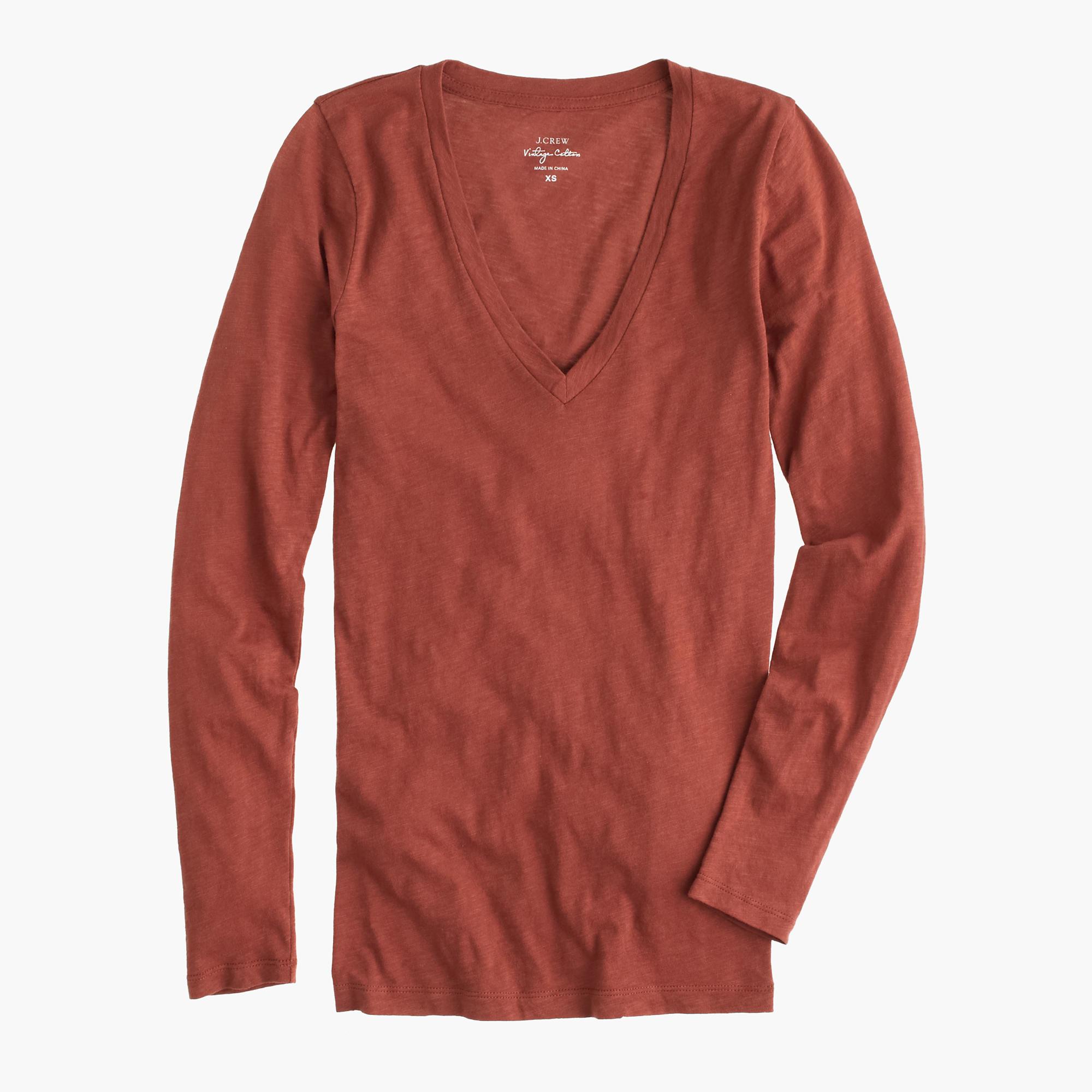 Vintage cotton long sleeve v neck t shirt in red for Cotton long sleeve v neck t shirts