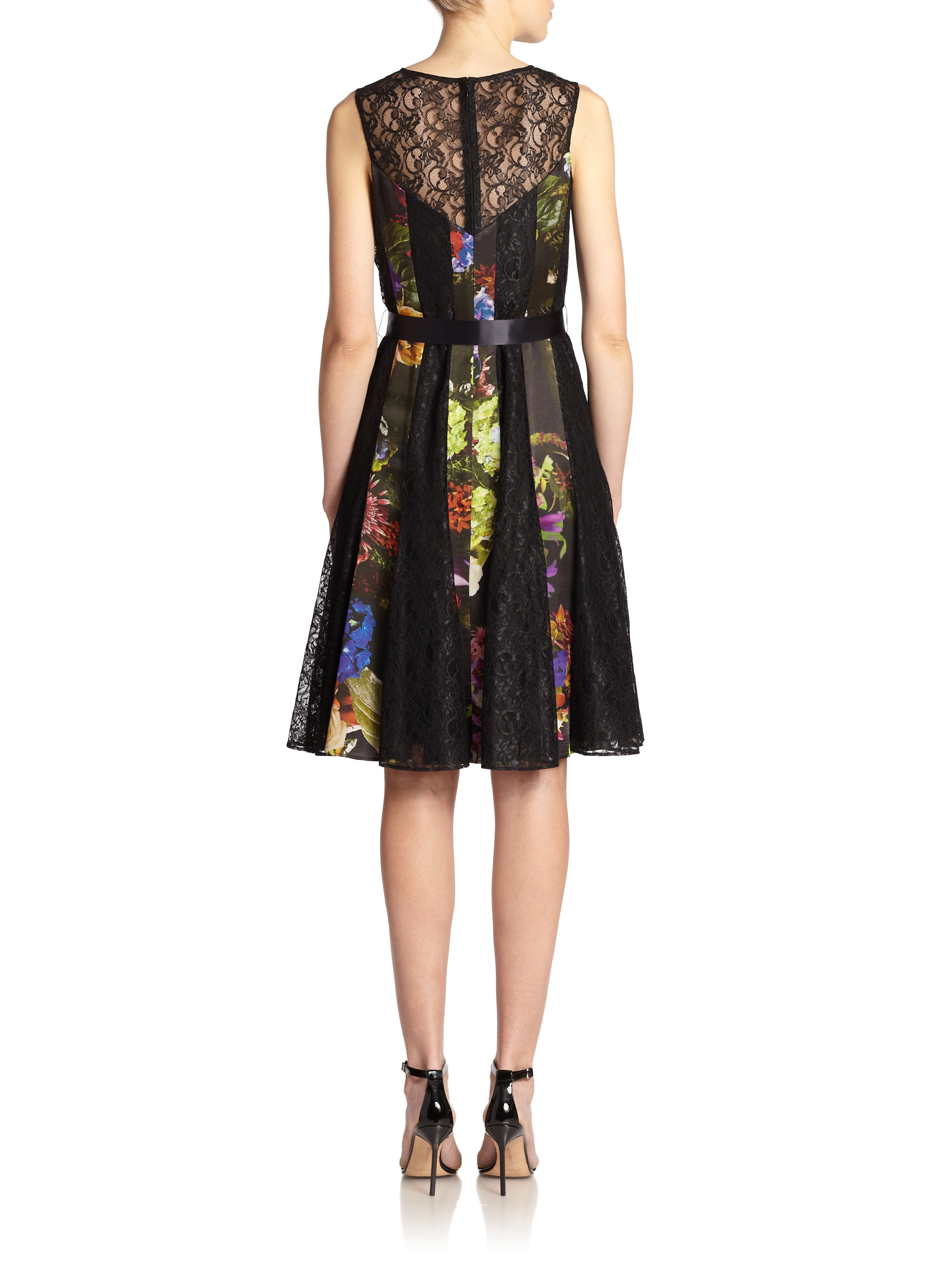 teri jon floral lace belted dress lyst