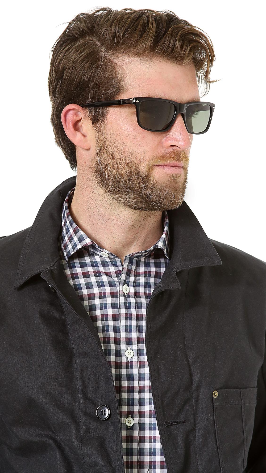 d75056d55f Lyst - Persol Rectangular Polarized Sunglasses in Black for Men