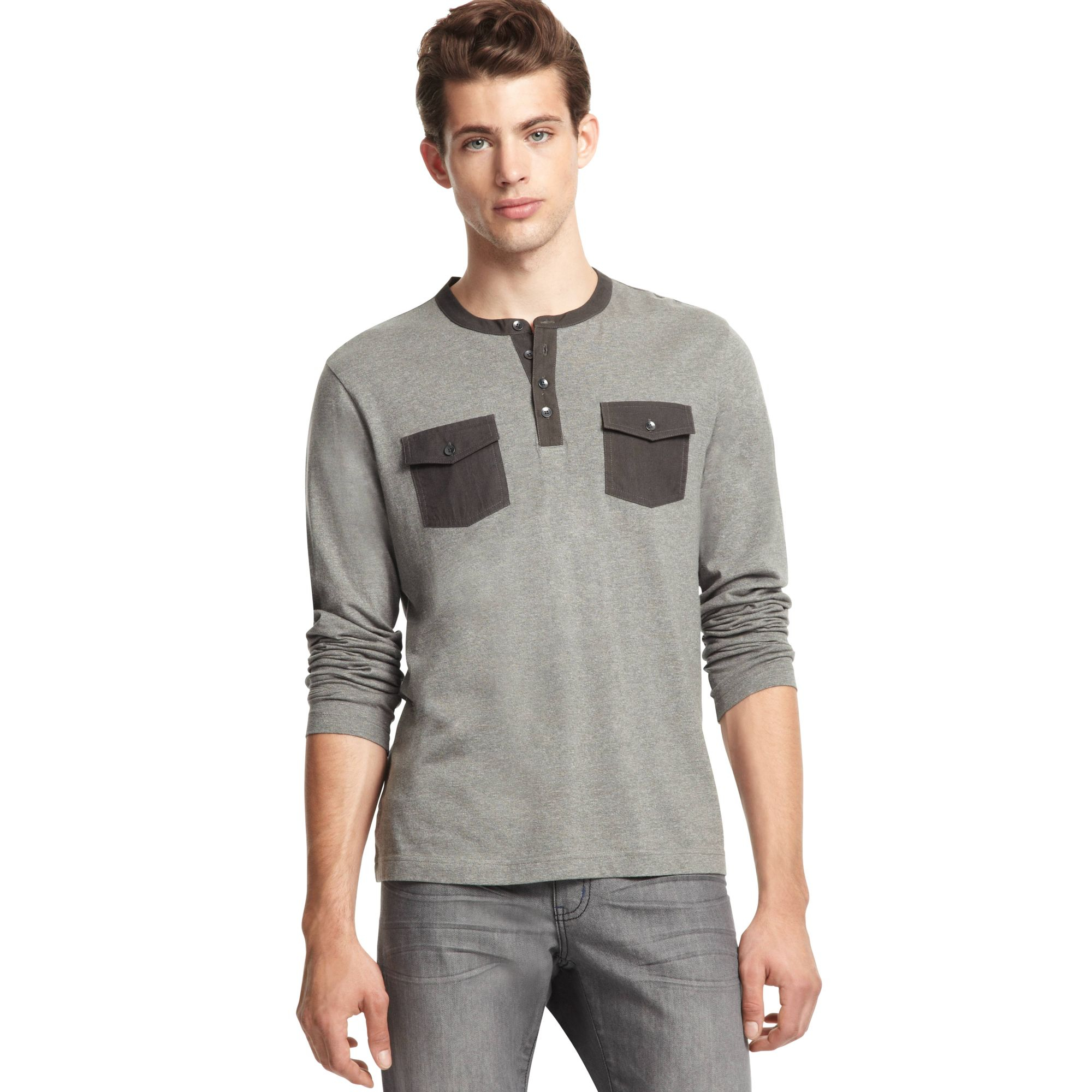 Kenneth cole reaction long sleeve two pocket henley shirt for Long sleeve pocket shirts