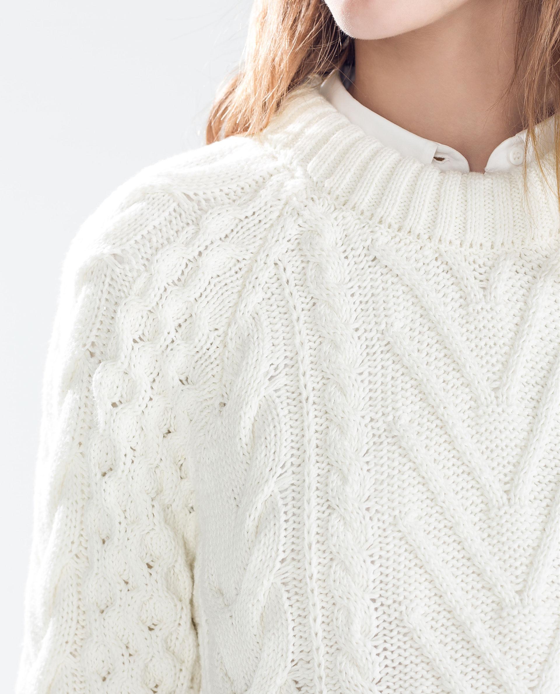 White Turtleneck Knit Sweater 88