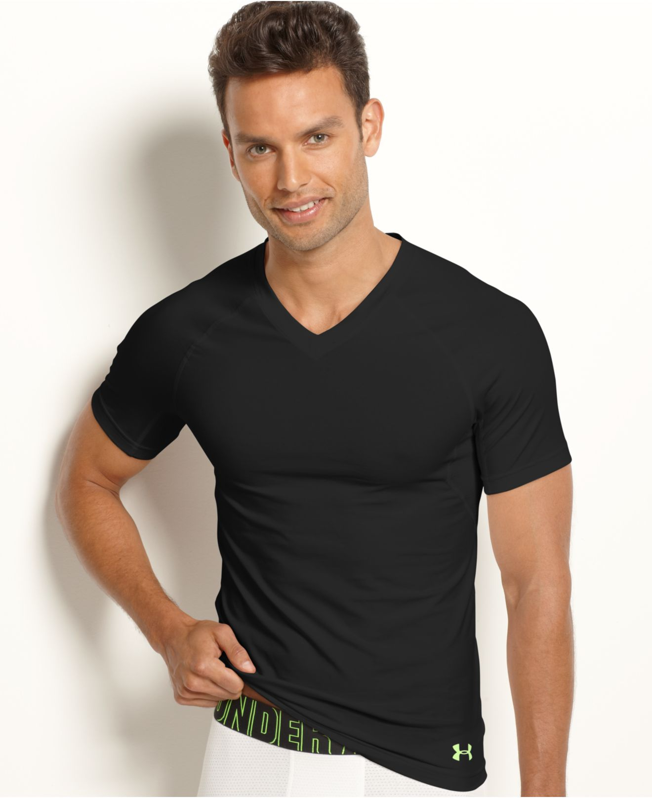 Lyst under armour men 39 s v neck athletic compression for Compression tee shirts for men