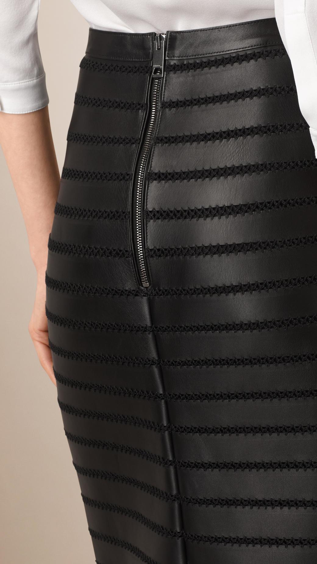 burberry panelled bonded lambskin pencil skirt in black lyst