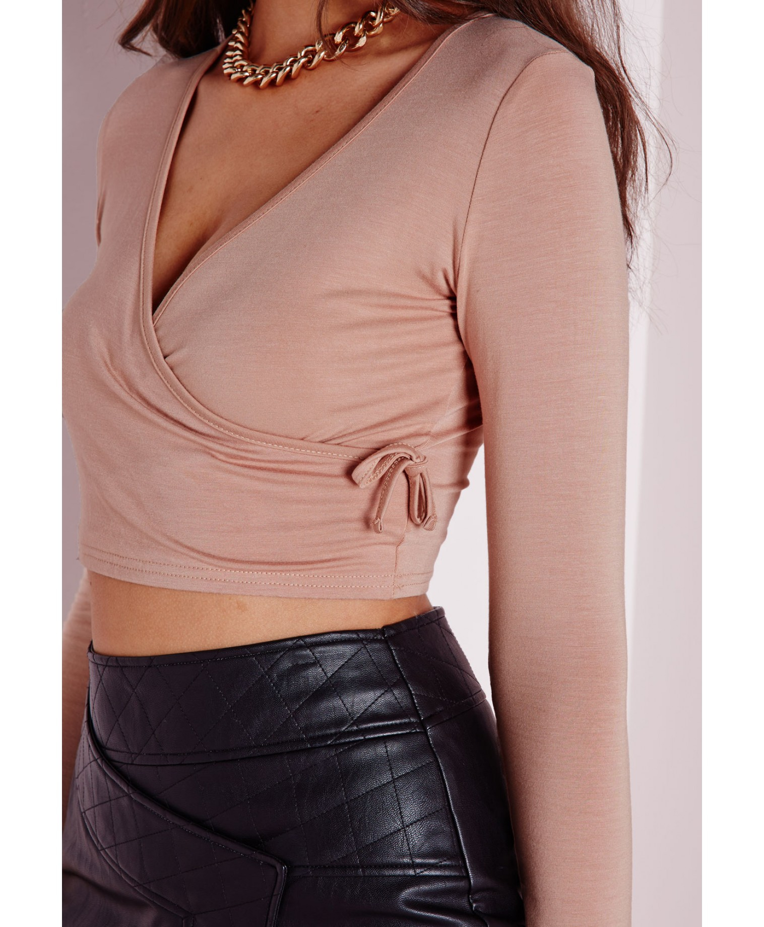 4a0322a28da04 Missguided Tie Side Long Sleeve Crop Top Taupe in Brown - Lyst