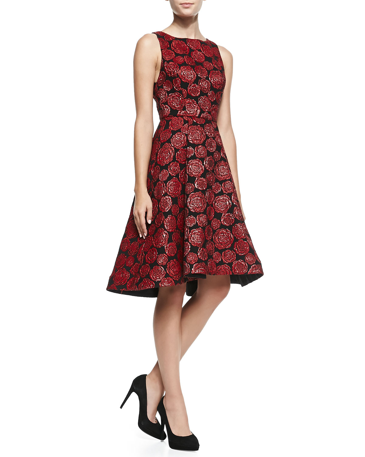 Lyst Alice Olivia Bailey Rose Jacquard A Line Dress In Black