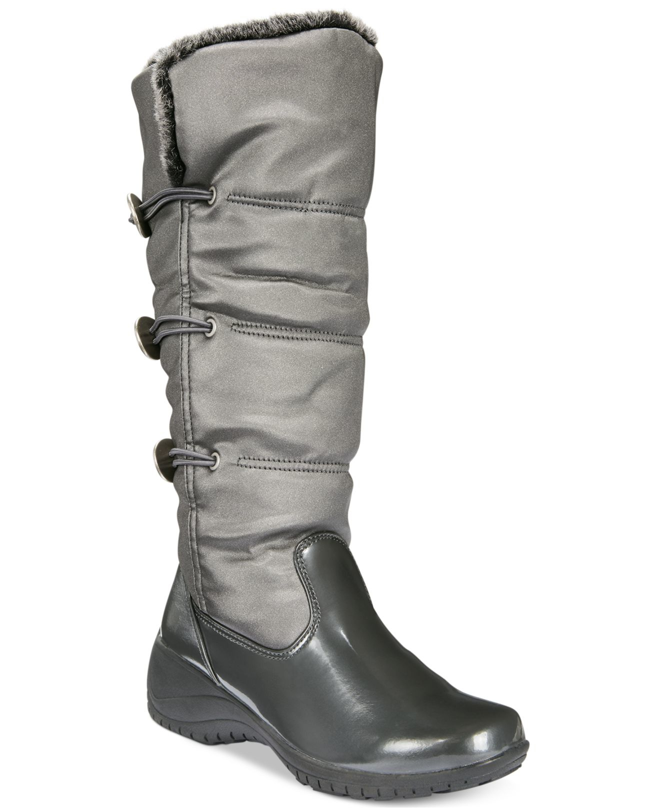 khombu abigail cold weather wedge boots in silver pewter