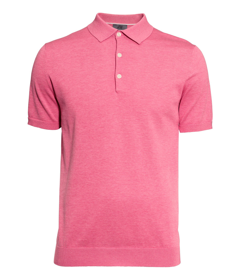 H m polo shirt in a silk blend in pink for men lyst for H m polo shirt mens