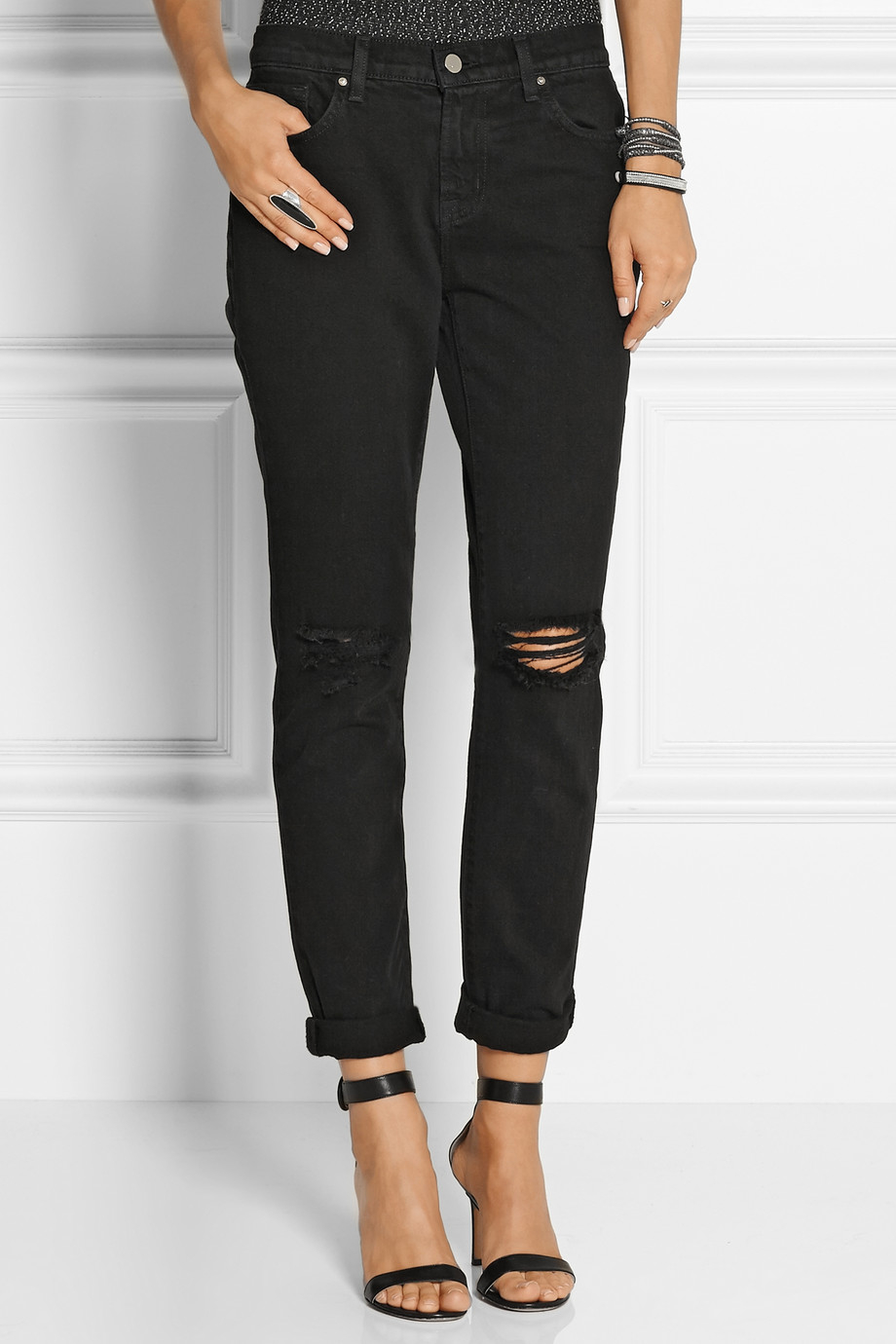 J brand Jake Distressed Mid-rise Slim Boyfriend Jeans in Black | Lyst