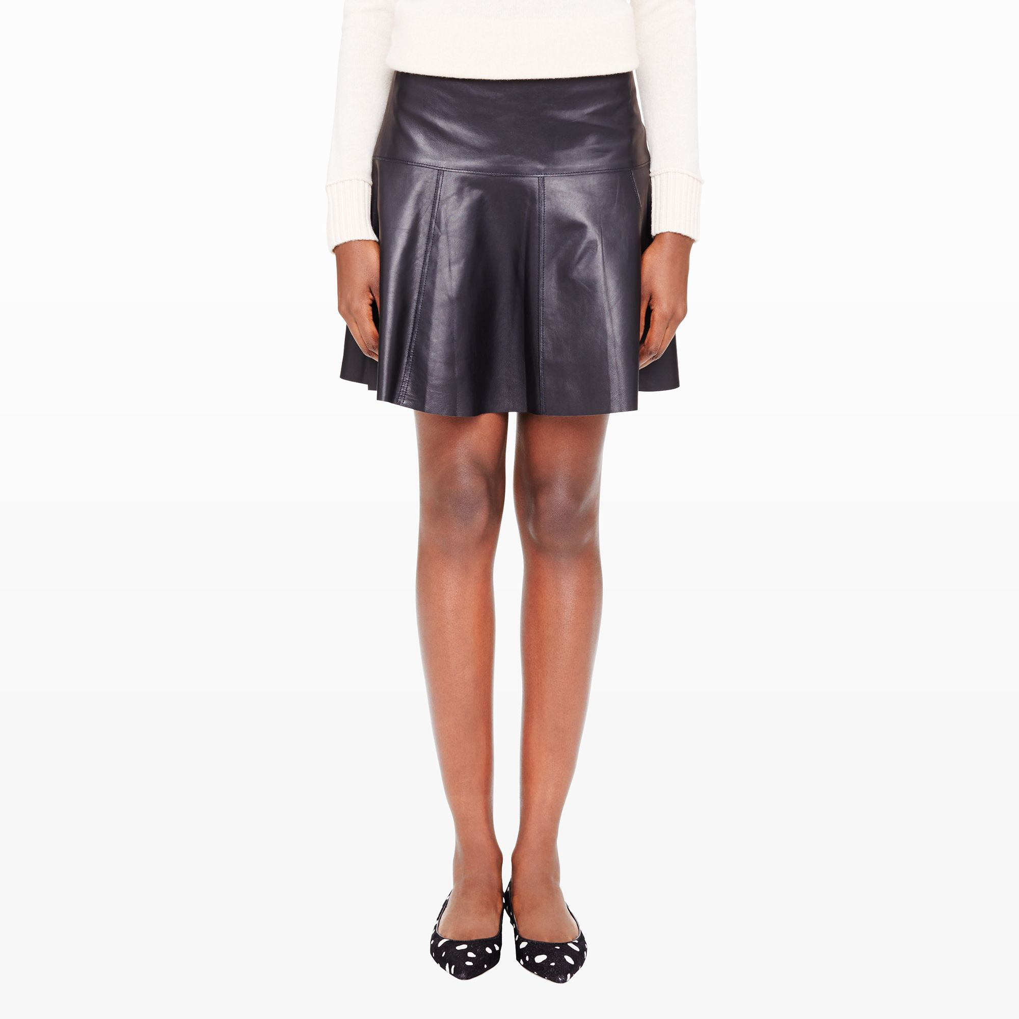 club monaco tavin leather skirt in black lyst