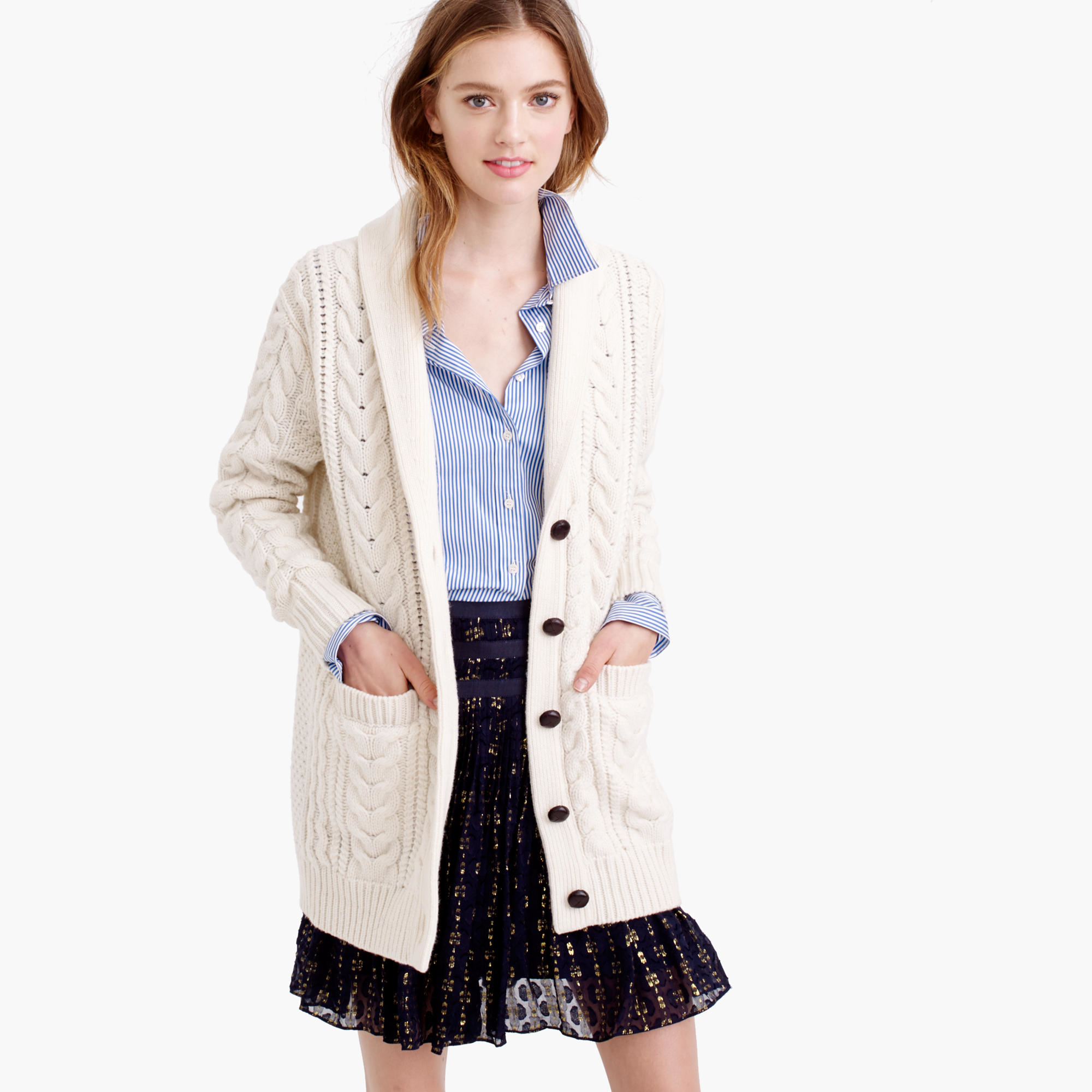 J.crew Shawl-collar Long Cable Cardigan Sweater in Natural | Lyst
