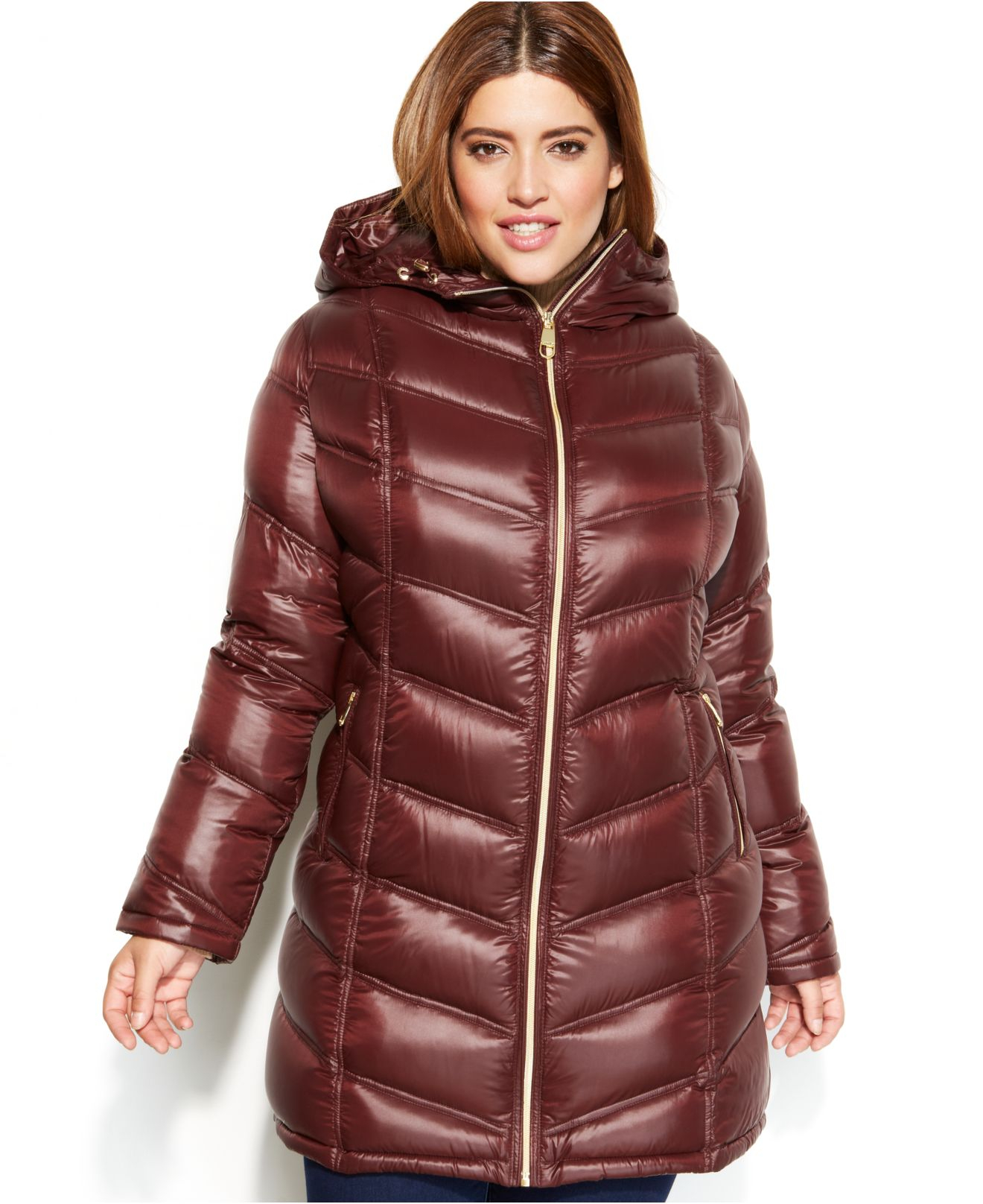 Calvin klein Plus Size Quilted Down Packable Puffer Coat in Purple ...