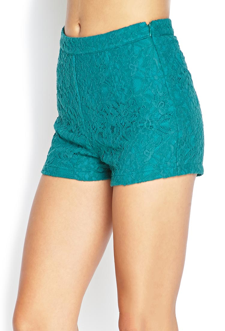 Forever 21 Floral Lace High-waist Shorts | Lyst