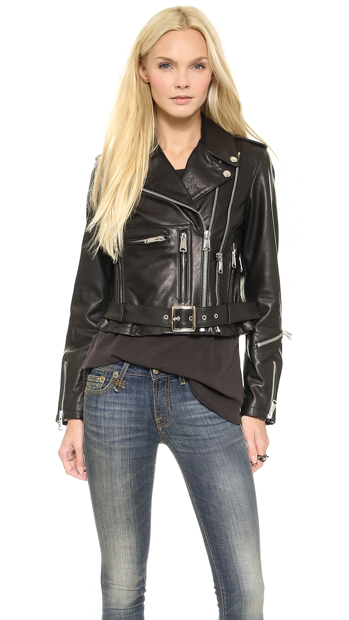 Lyst - R13 Crop Classic Leather Moto Jacket - Black In Black-2946