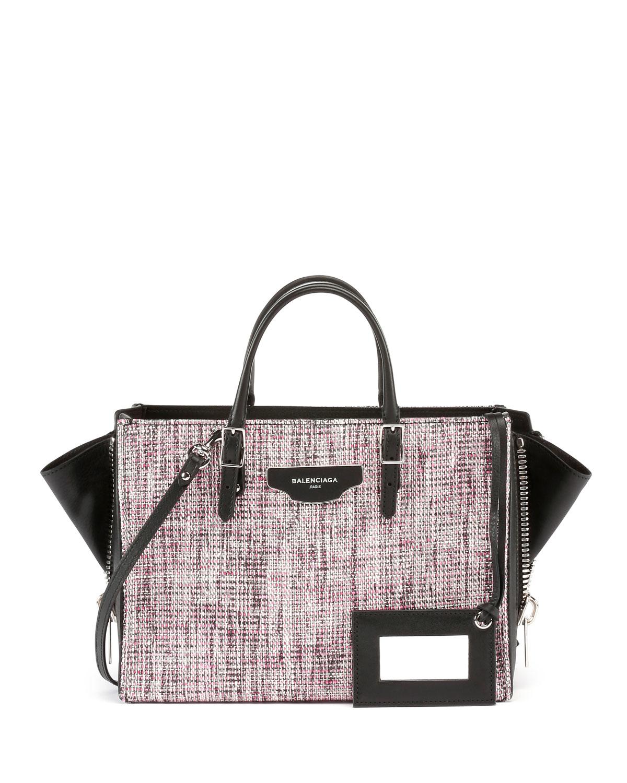 sc 1 st  Lyst & Lyst - Balenciaga Paper Zip-around Plate Tweed Tote Bag W/strap in Pink