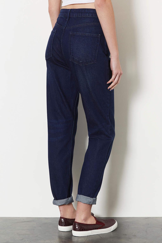 topshop moto dark vintage mom jeans in blue lyst. Black Bedroom Furniture Sets. Home Design Ideas
