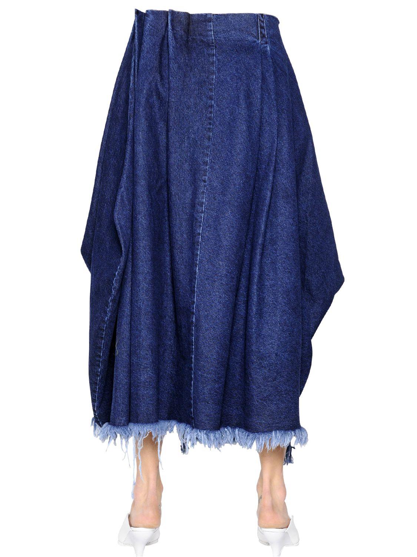 marques almeida wrapped cotton denim skirt in blue lyst