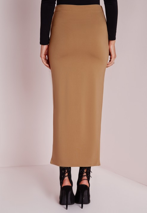 Lyst Missguided Silver Bar Detail Midi Skirt Camel In