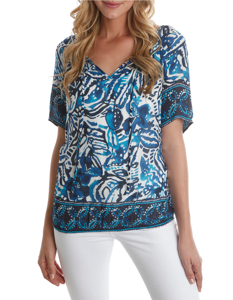 195e324d982bee Lyst - Lucky Brand Abstract Floral Print Tie-Neck Top in Blue