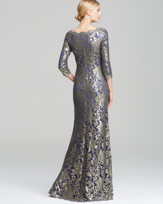 Lyst Tadashi Shoji Off Shoulder Metallic Lace Gown In