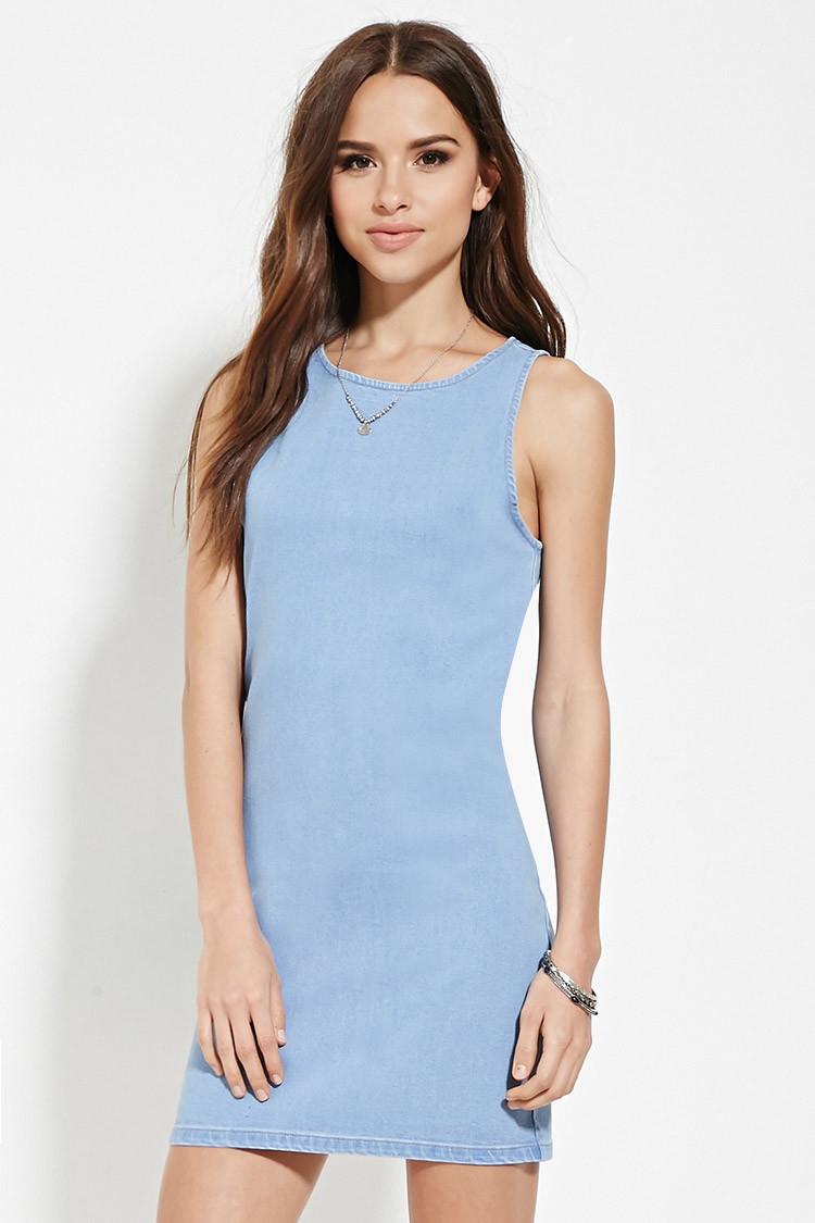 87b1224965 Lyst - Forever 21 Bodycon Denim Dress in Blue