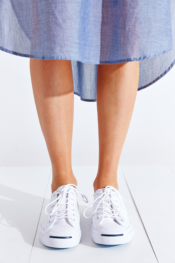 7627e0566620 Lyst - Converse Jack Purcell Tumbled Leather Low-Top Sneaker in White