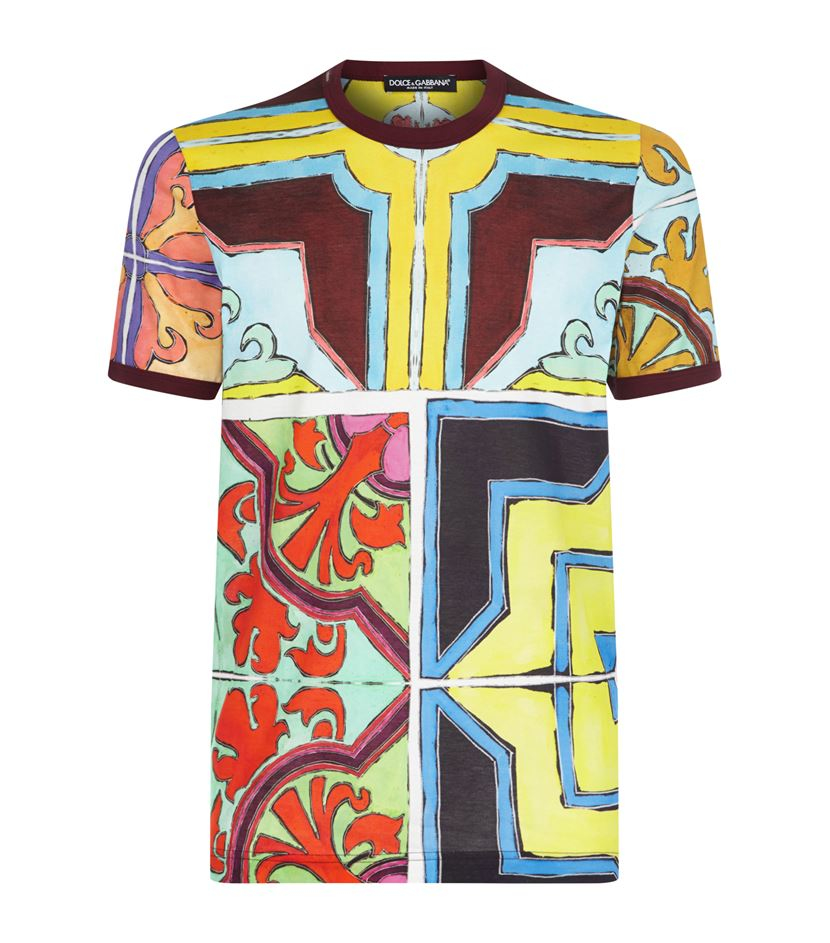 dolce gabbana roman printed t shirt in yellow for men lyst. Black Bedroom Furniture Sets. Home Design Ideas