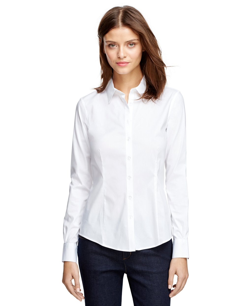 Lyst Brooks Brothers Tailored Fit Cotton Shirt In White