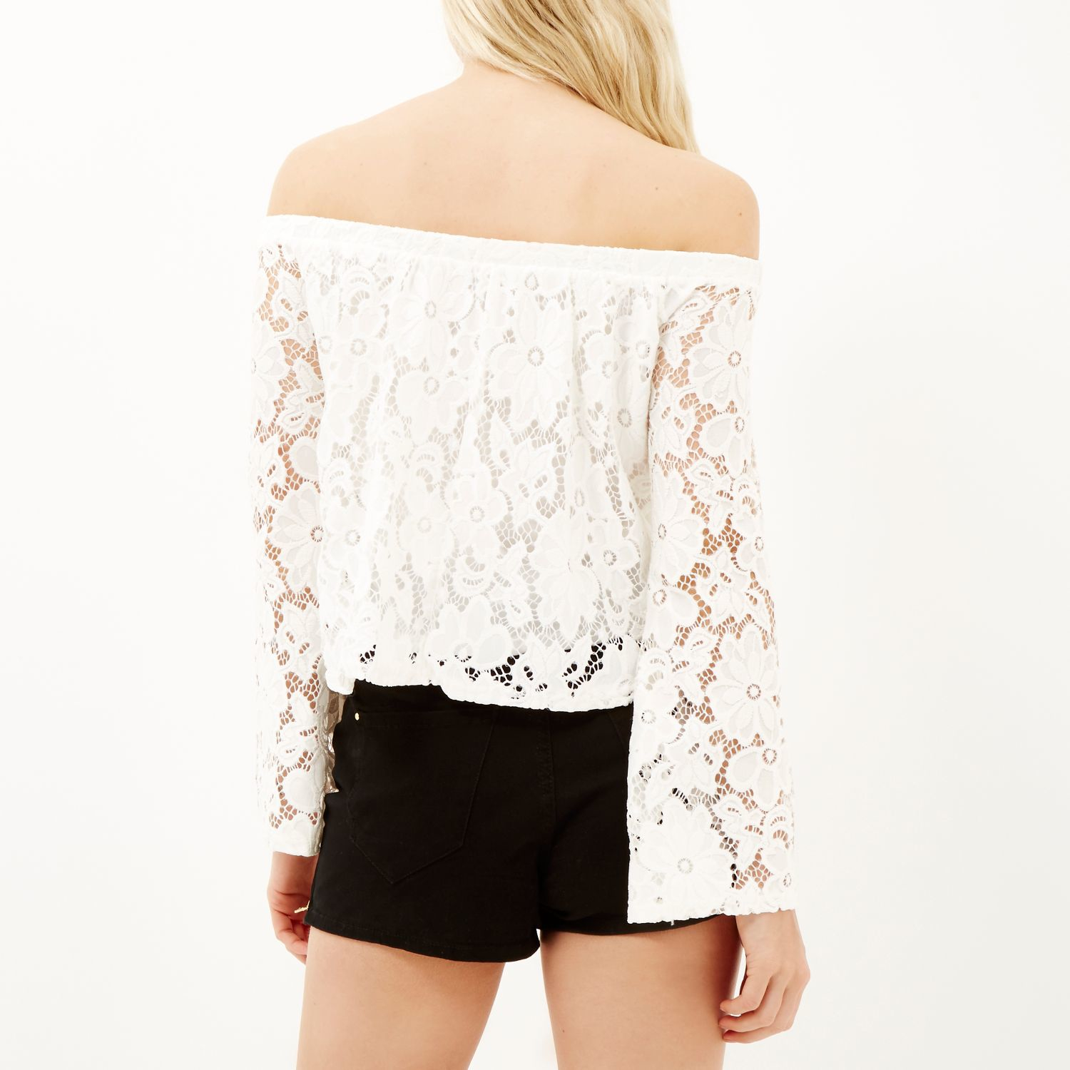 e378d43cb35 River Island Cream Lace Long Sleeve Bardot Top in Natural - Lyst