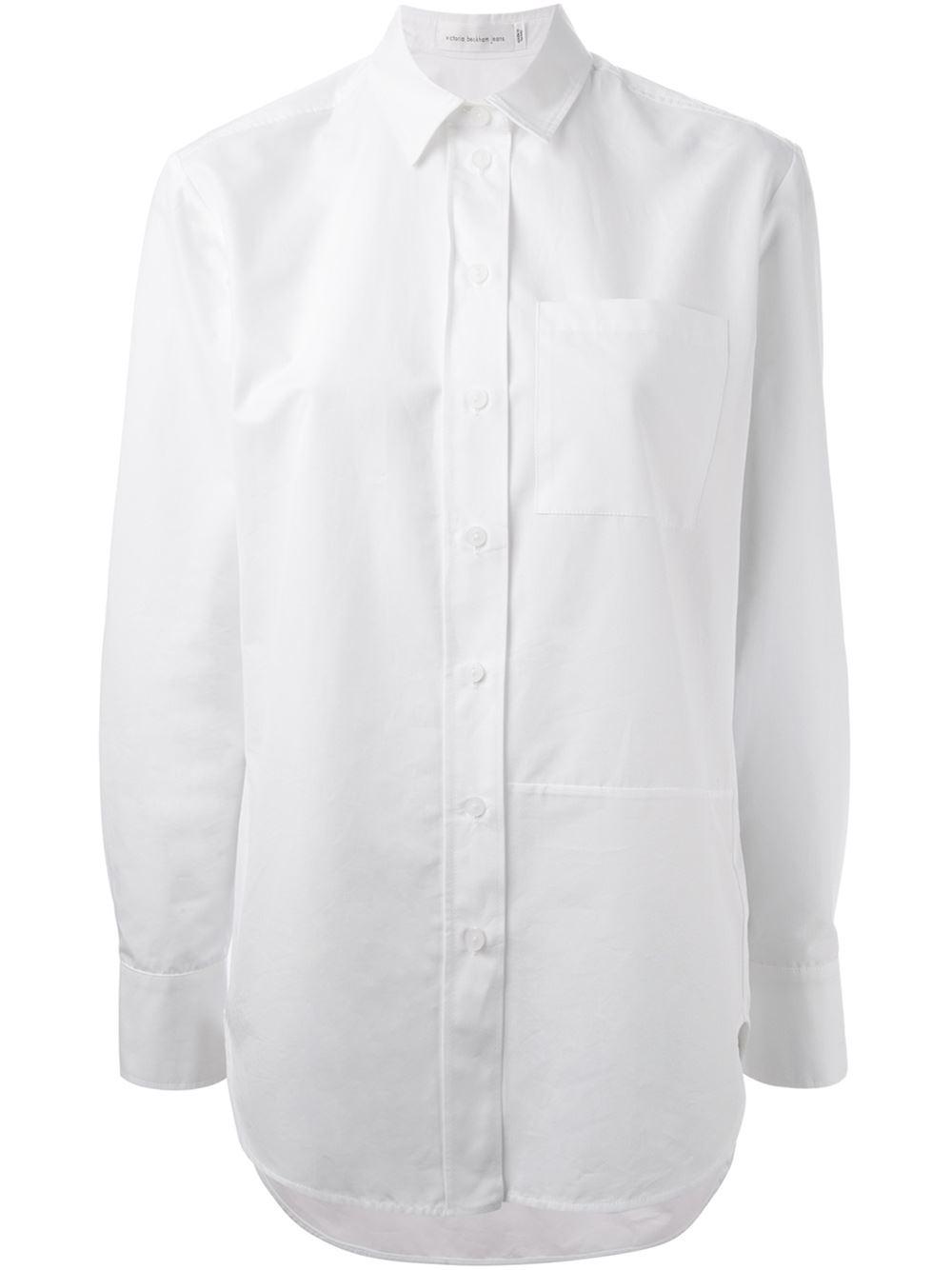 Victoria Beckham Chest Pocket Shirt In White Lyst