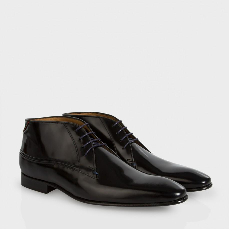 paul smith s black high shine calf leather