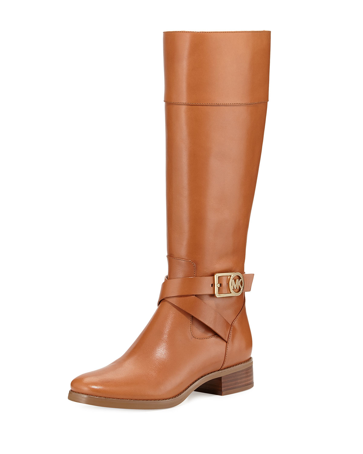 michael michael kors bryce leather riding boot in khaki luggage lyst. Black Bedroom Furniture Sets. Home Design Ideas