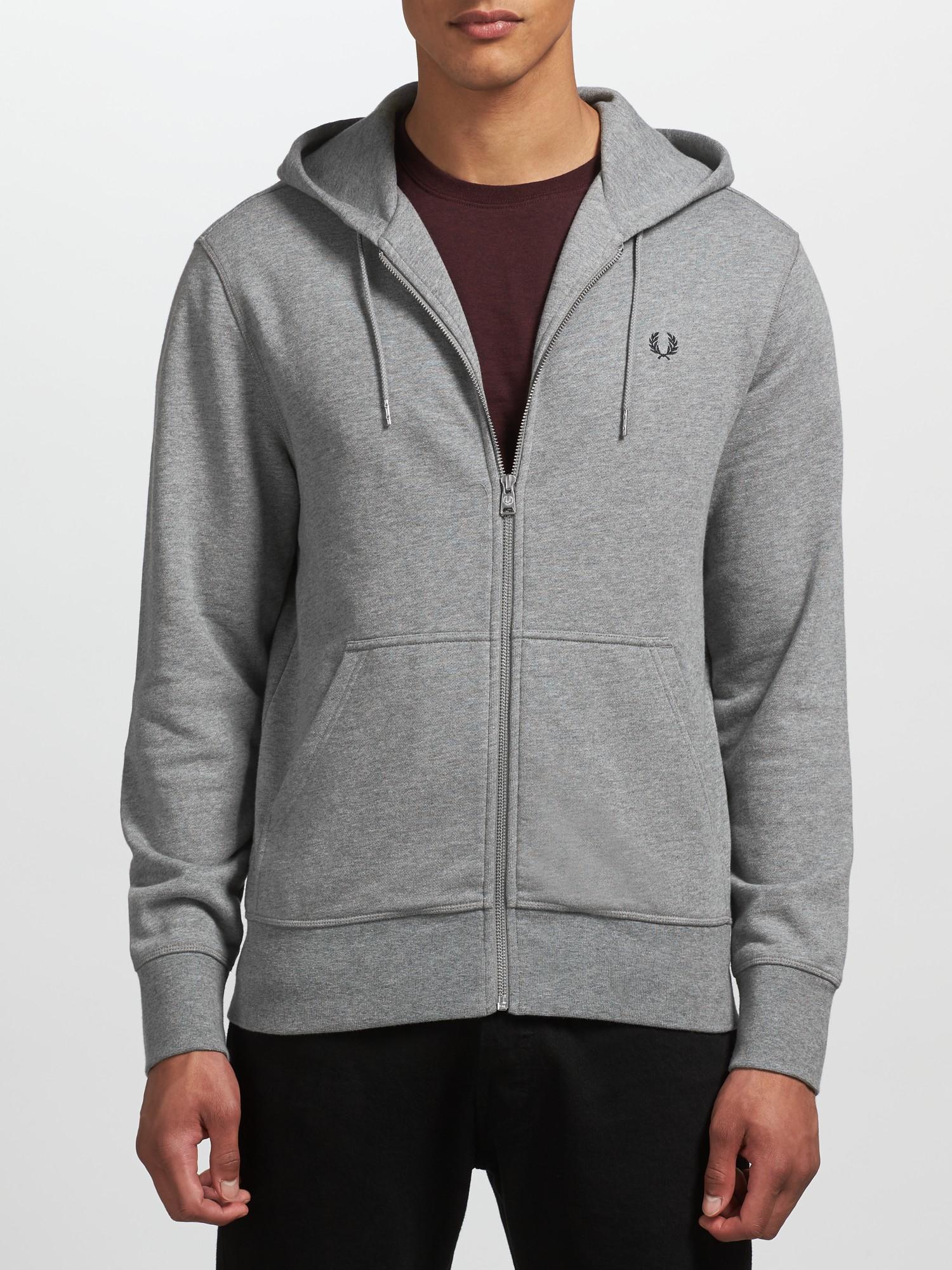 fred perry men s steel marl zip through sweatshirt s. Black Bedroom Furniture Sets. Home Design Ideas