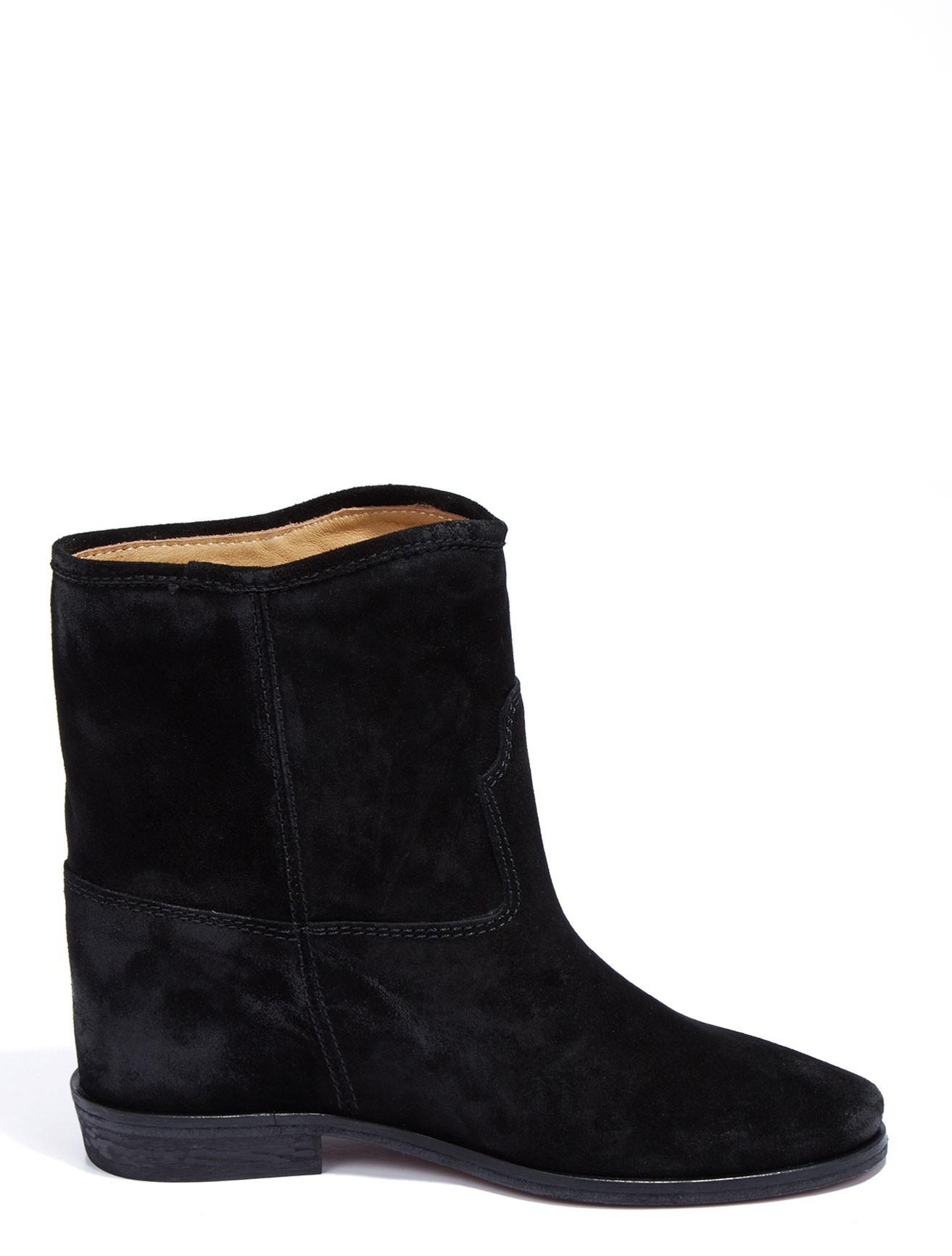 scoop suede inner wedge boot in black lyst
