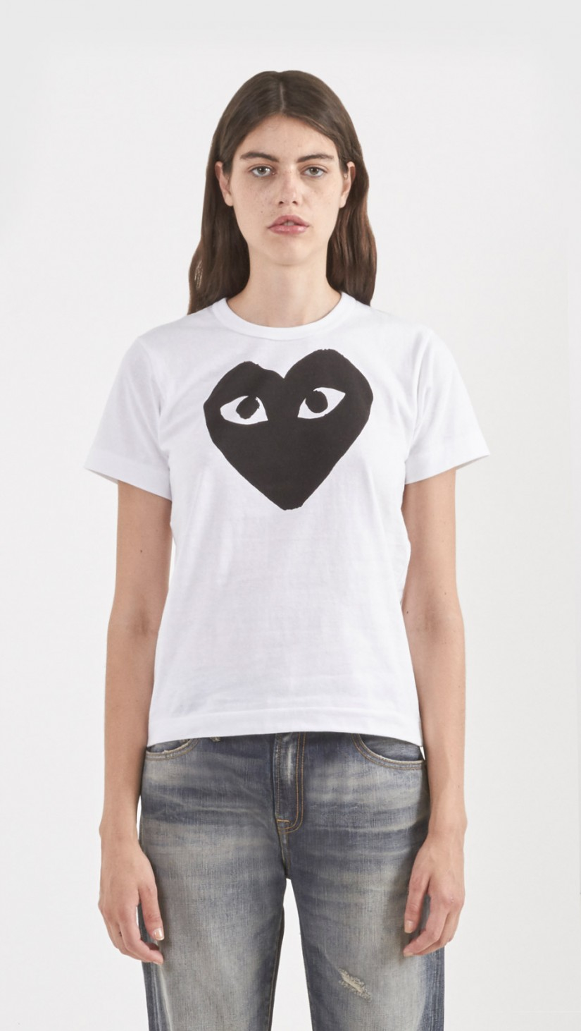 lyst play comme des gar ons solid graphic t shirt in white. Black Bedroom Furniture Sets. Home Design Ideas