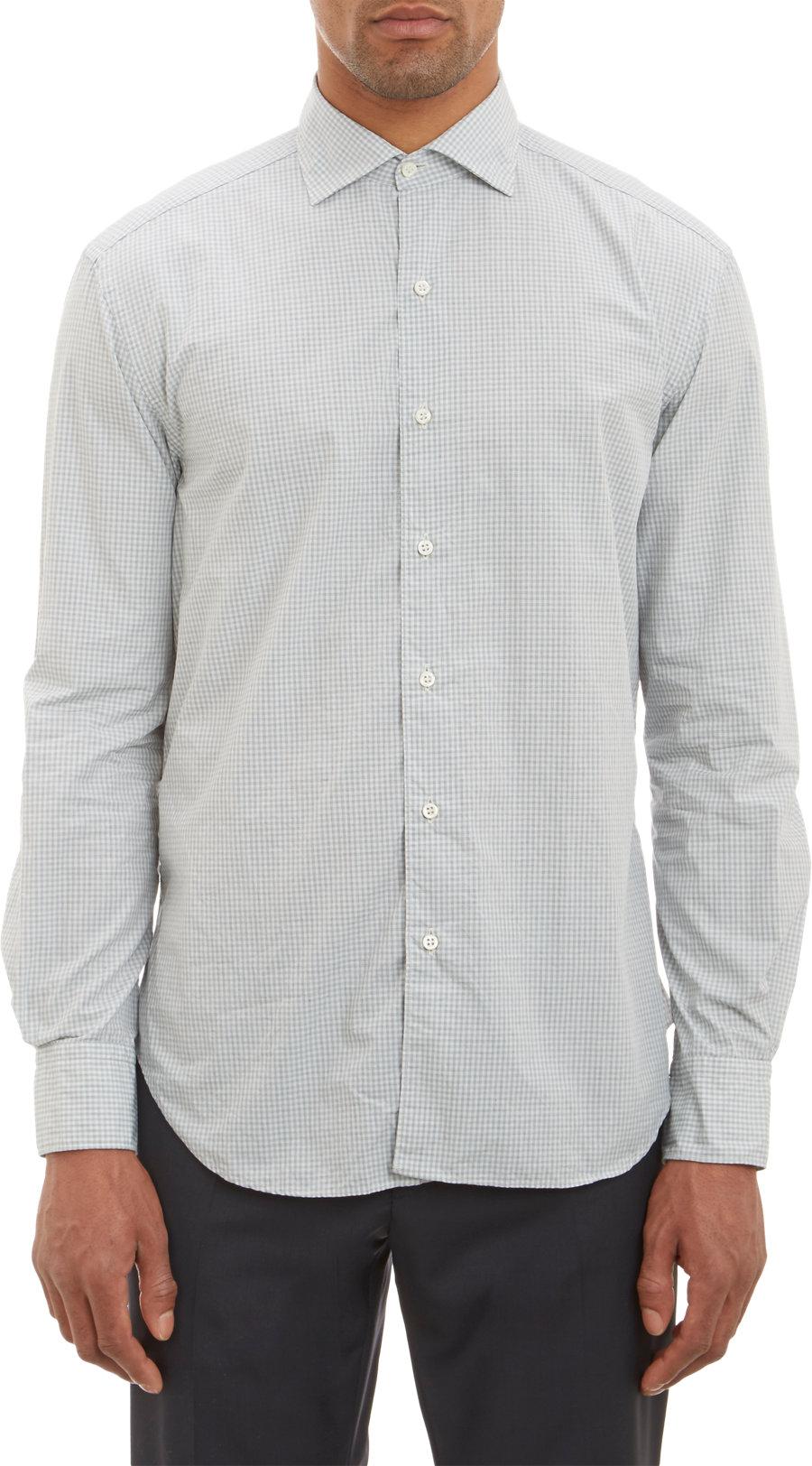 Barneys New York Gingham Pattern Shirt In Green For Men
