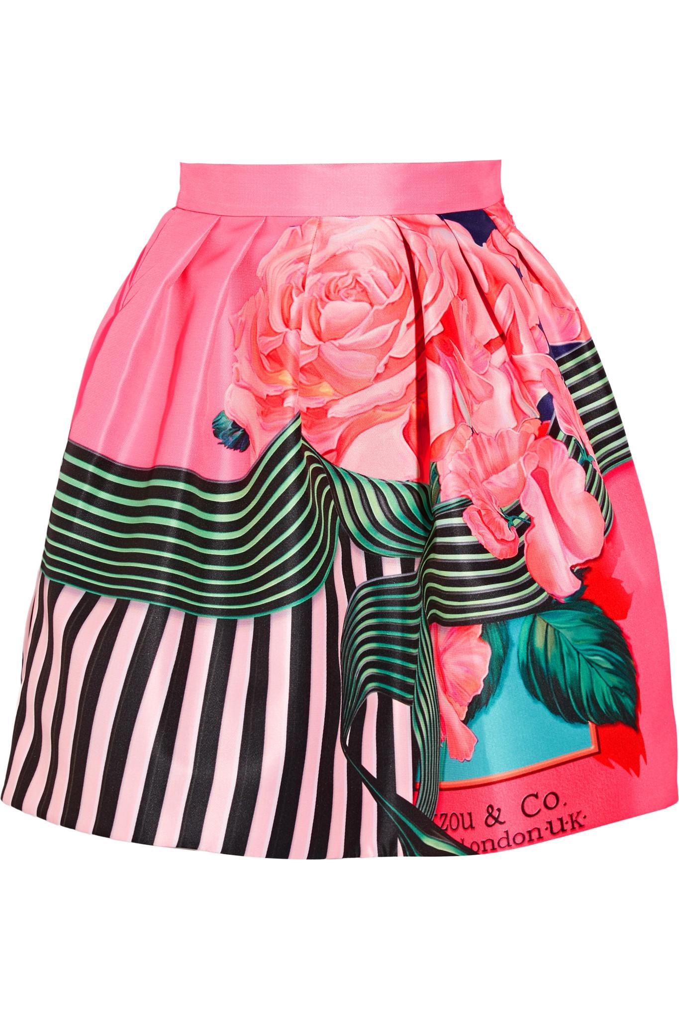 30e58e4c0f Mary Katrantzou Algernon Floral-print Faille Mini Skirt - Lyst