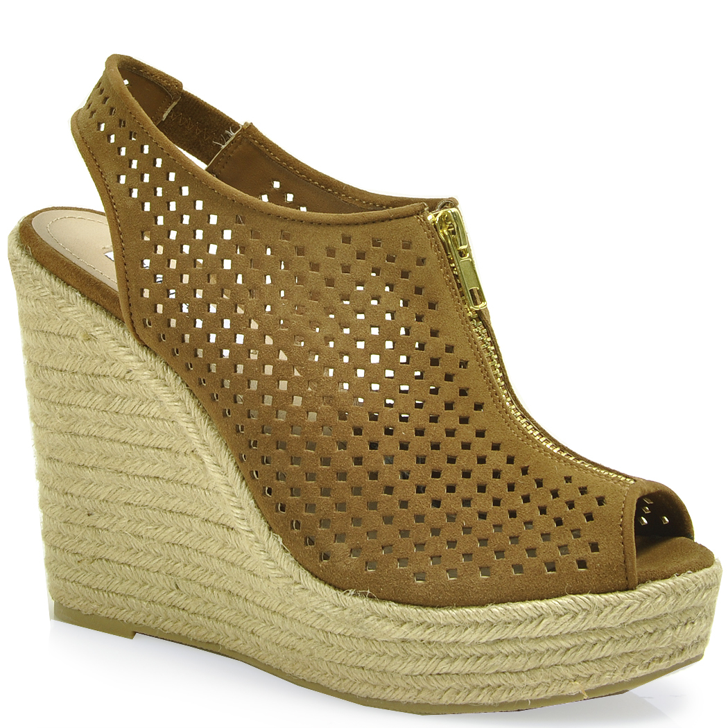 Perforated Suede Wedge Sandal In