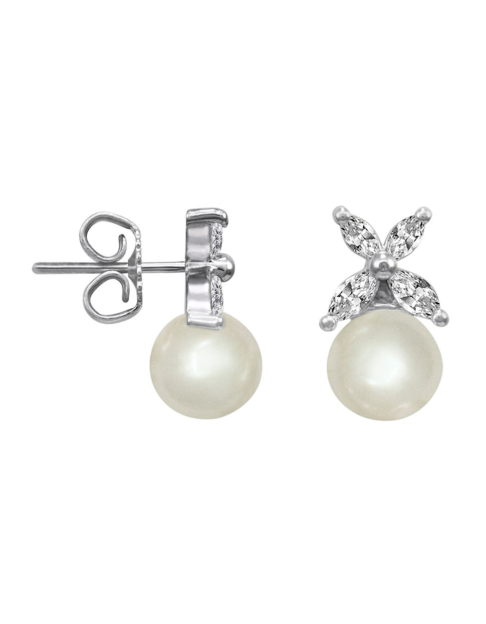 Majorica Crystal And Pearl Stud Earrings In White Lyst