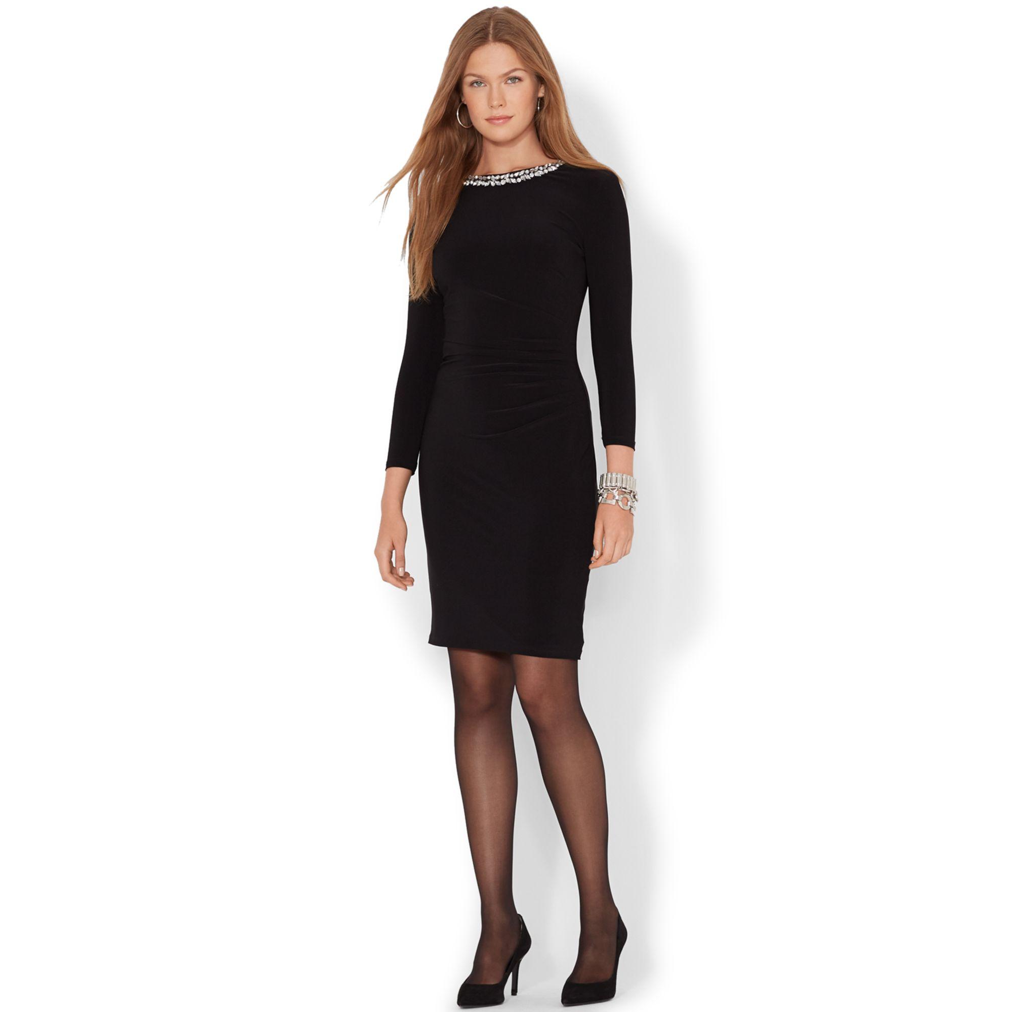 Lauren Ralph Lauren Three-Quarter-Sleeve Embellished Dress