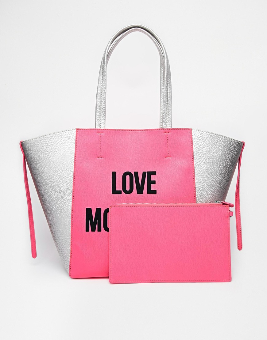 love moschino logo shopper bag in pink in pink lyst. Black Bedroom Furniture Sets. Home Design Ideas