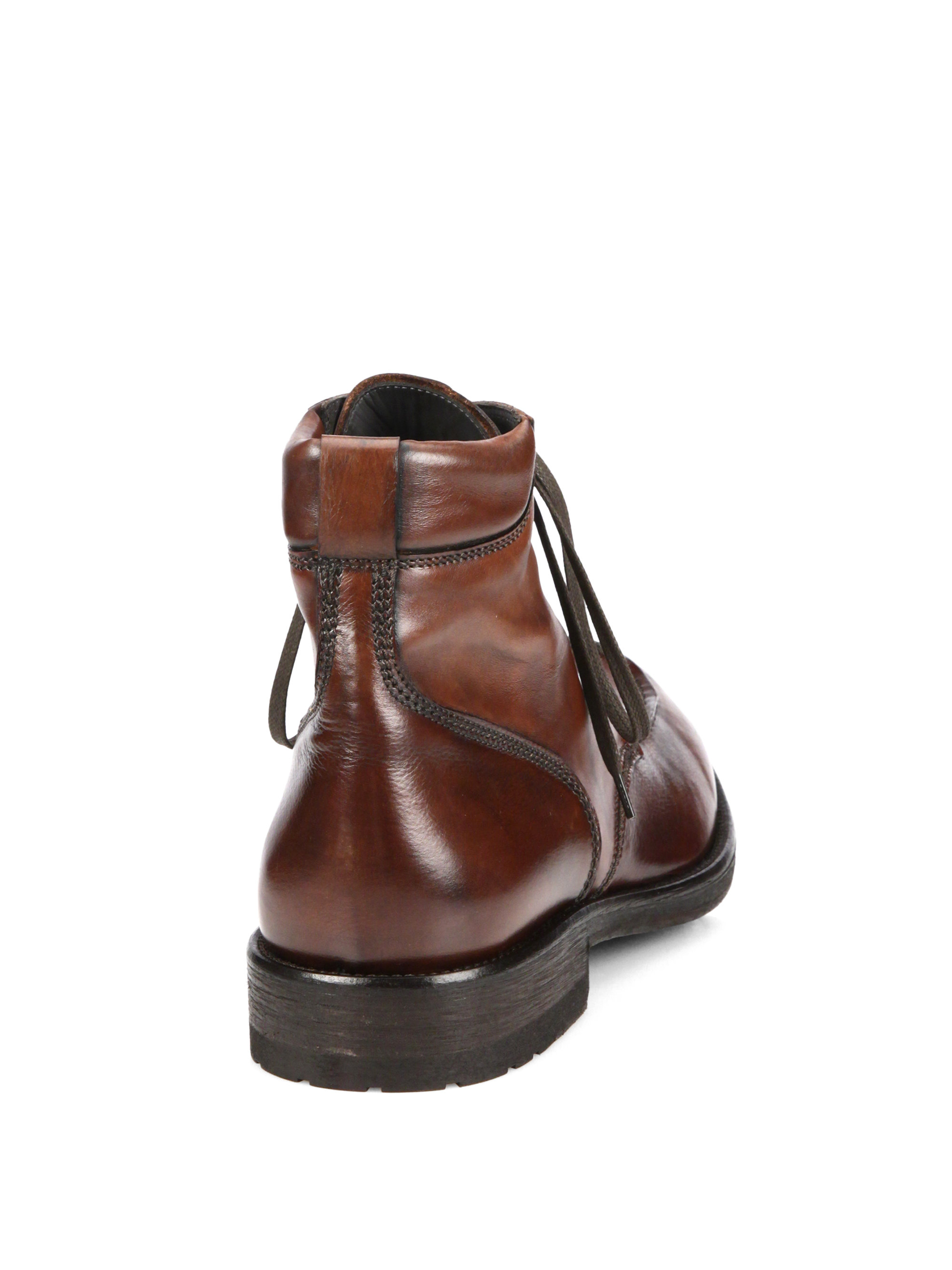 to boot paul leather lace up boots in brown for lyst