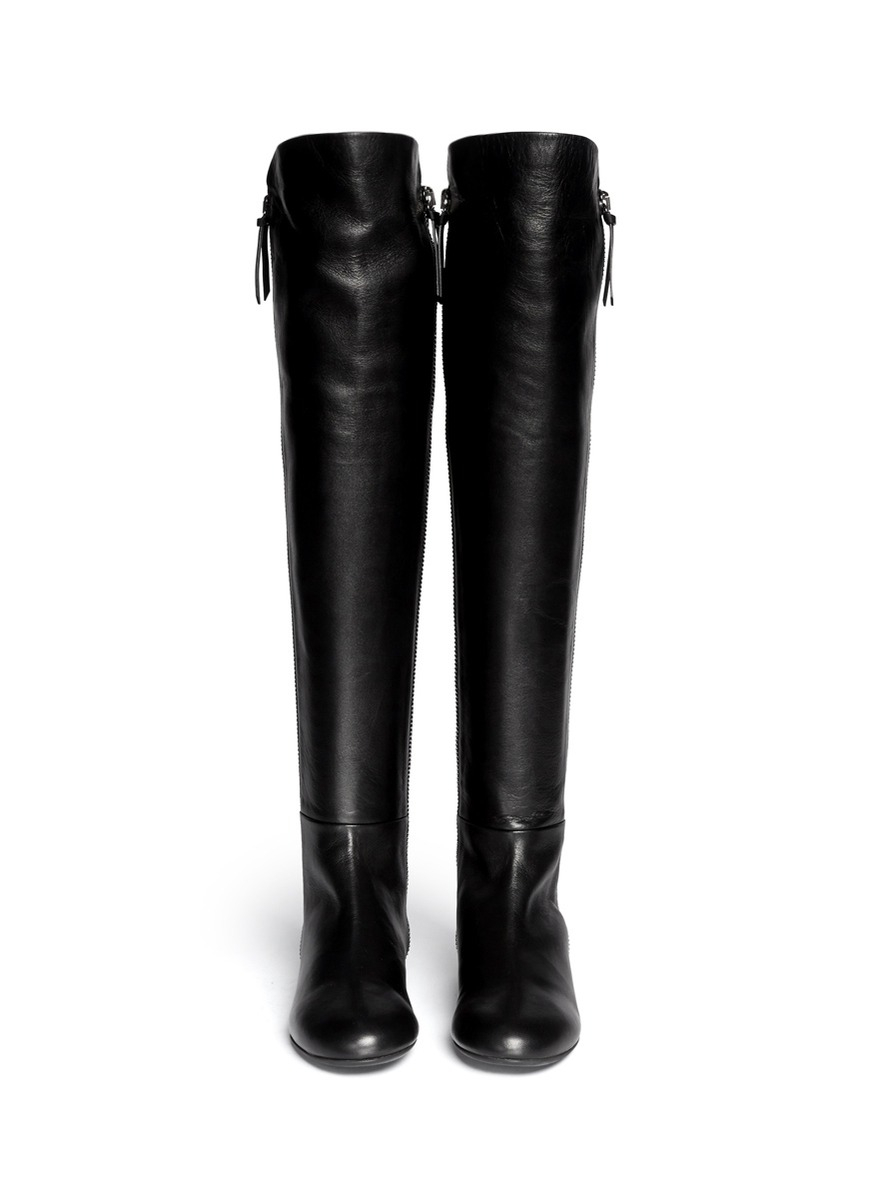 giuseppe zanotti balet zip leather thigh high boots in