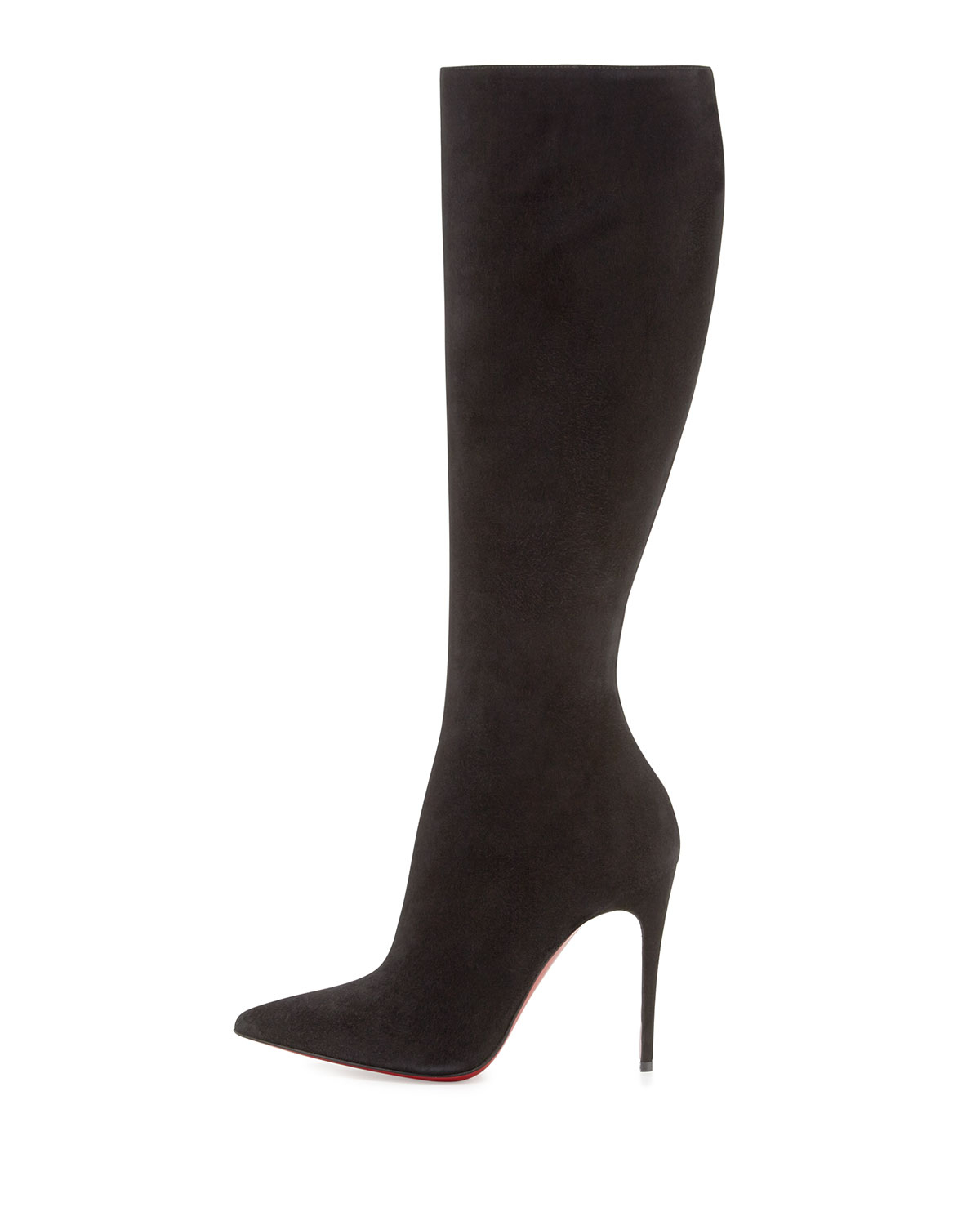 christian louboutin pointed-toe boots Black suede | The Little ...