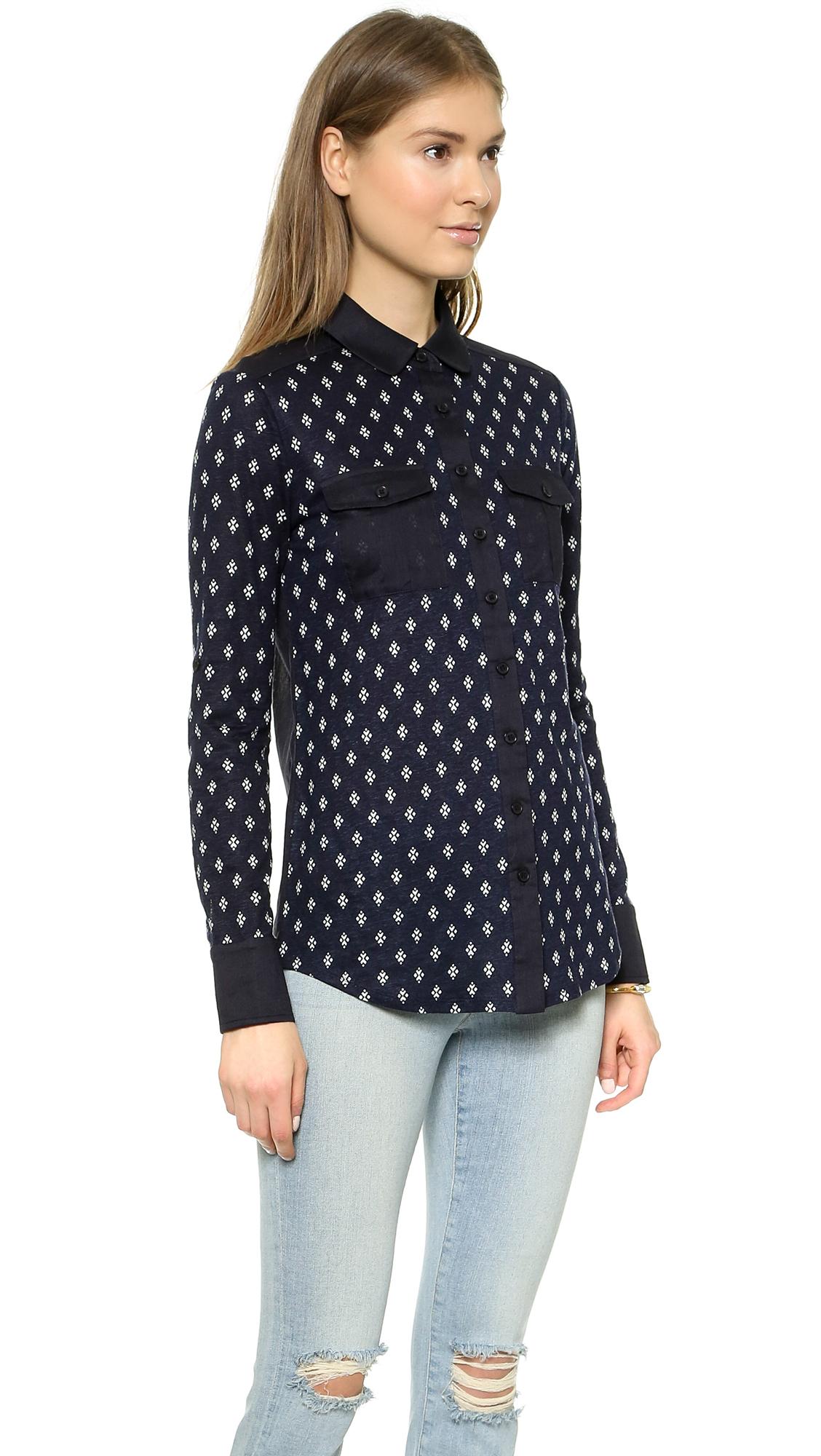 tory burch finlay button down shirt tory navy diamond in