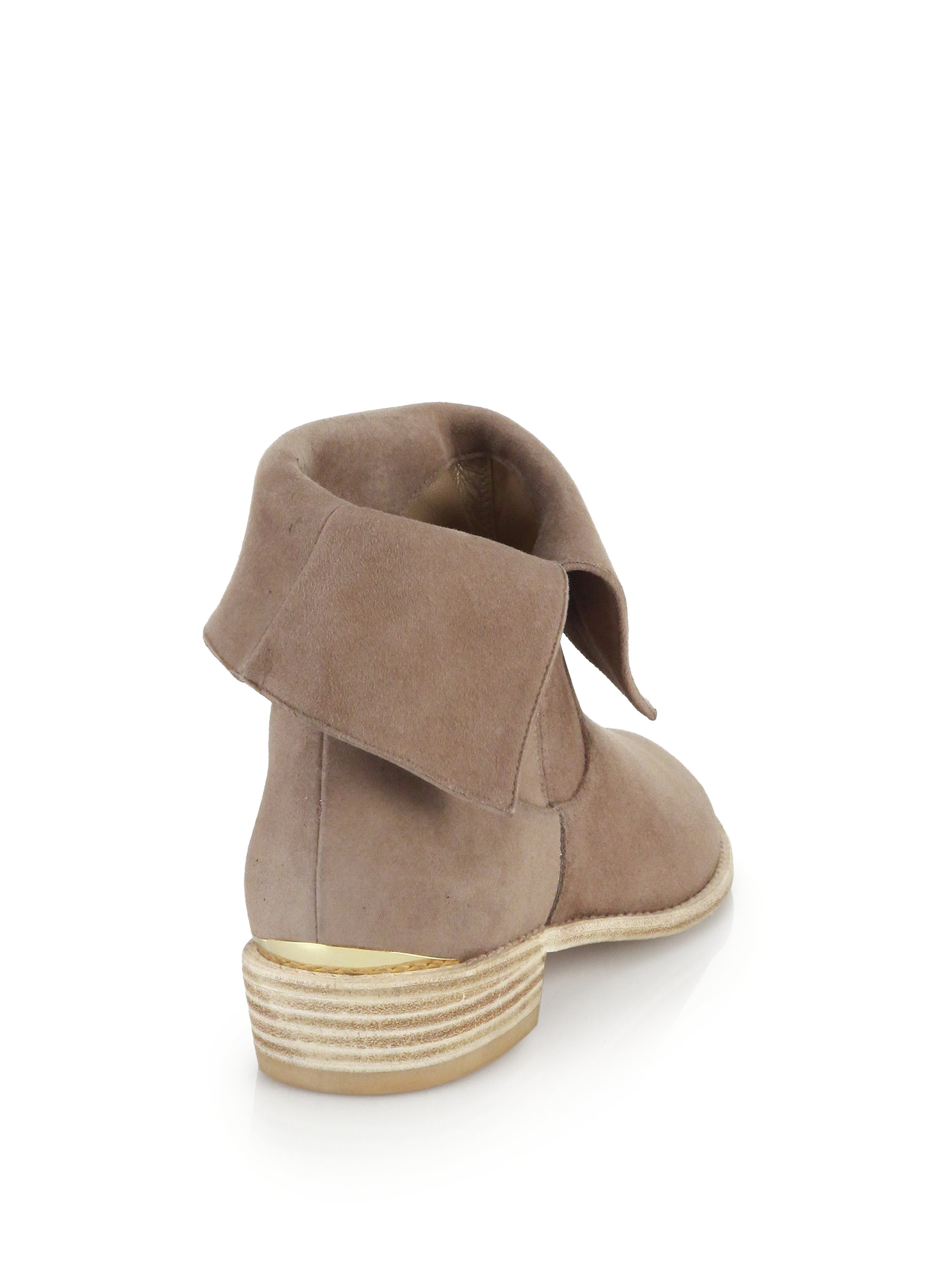 Stuart weitzman Suede Foldover Ankle Boots in Natural   Lyst