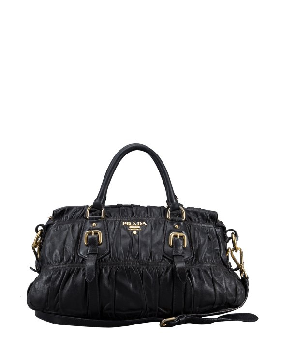 ... sale lyst prada black gauffre ruched leather vintage top handle bag in  fa91d c2983 1a133f0a6cff5